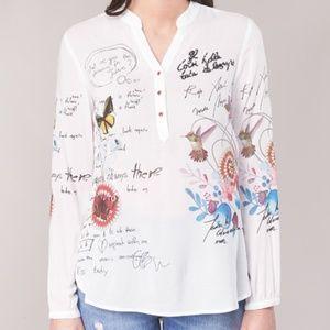 Desigual Embroidered White Shirt - NWOT - Size L